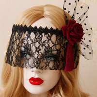 Black Lace with Rose Patch Mask