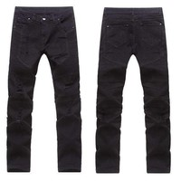 Mens Stretchy Ripped Skinny Biker Jeans