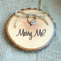 Wedding Proposal Prop, Marry Me, Marry Me Rustic Wood Slice, Rustic Wedding Decor, Ring Box, Wedding Ring Holder, Engagement Holder