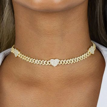 Hip Hop Chain Cuban Link Heart Necklace Jewelry for Women Bling Miami Iced Out Chain Necklace Love Choker Jewelry