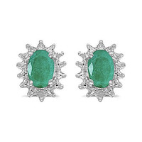 14kt White Gold Oval Emerald and Diamond Earrings