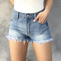 Gigi High Rise Denim Fray Shorts