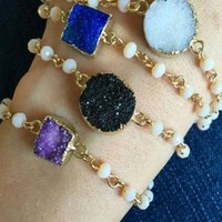 Druzy and Pearls Dainty Bracelet