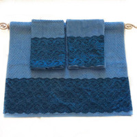 Blue Decorative towel Set of 3 His and Her Wedding Gift idea, Lace Embellished Towels, Guest Bathroom Decor Chevron print Towels Master Bath