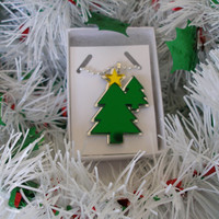 Christmas necklace Two Trees With Yellow Mirrored Star  shiny mirrored acrylic  pendant