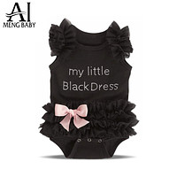 Ai Meng Baby Little Girl Black Romper Infant Sleeper Pajamas Jumpsuit One-piece Baby Clothes Newborn Girl's Wear Babies Rompers