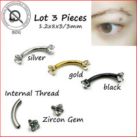 BOG-Lot 3 Pcs 316L Stainless Steel 16g Zircon CZ Gem Curved Eyebrow Ear Cartilage Helix Piercing Ring BOdy Jewelry Gold Black
