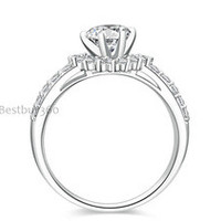 0.8ct 6 prongs ring genuine pure solid 925 sterling silver PT950 ring US size from 4 to 10.5