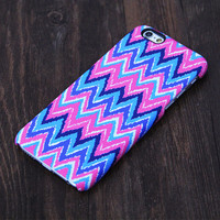 Abstract Pink and Blue Chevron Design iPhone 6s Case/Plus/5S/5C/5/4S Case #602