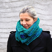 Women scarf winter fashion, Daphne Big, in teal & green, gift for her, under 50
