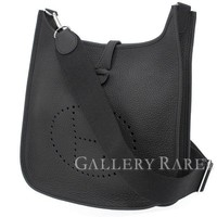 HERMES Evelyn 3 PM Clemence Noir Shoulder Bag #A France Authentic 4037583