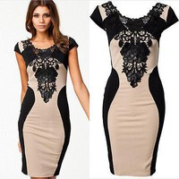 Fashion Women Floral Lace Short Sleeve Dresses Party Casual knee-length  Dress