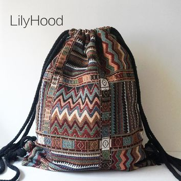Women Vintage Backpack Female Gypsy Bohemian Boho Chic Aztec Folk Tribal Ethnic Fabric Brown String Drawstring Backpack Bag