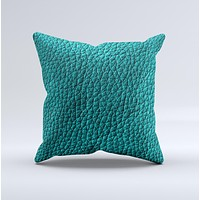 Dark Teal Leather  Ink-Fuzed Decorative Throw Pillow