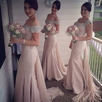 Cap Sleeves 2016 Cheap Bridesmaid Dresses Under 50 Mermaid Satin Beaded Crystals Sexy Coral Long Wedding Party Dresses