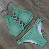 Summer Green Beachwear Bikinis Set Swimsuit Padded Bra Bathing Suit