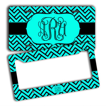 MAZE PATTERN PREPPY - MONOGRAMMED LICENSE PLATE