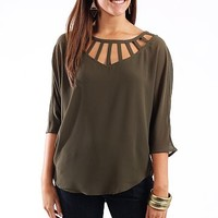 Butterfly Woven Blouse, forest