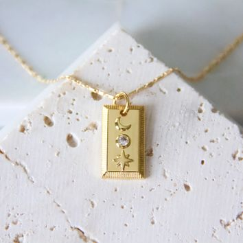 Moon and Star Plaque Necklace