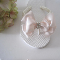 Little Girl Flip Flops Bridal Wedding Flower Girl French Knotted with Beautiful Blush Pink Bow and Pearl and Rhinestone Accent Custom Order