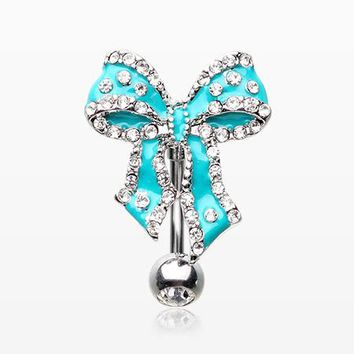 Glam Bow-Tie Lace Sparkle Reverse Belly Button Ring