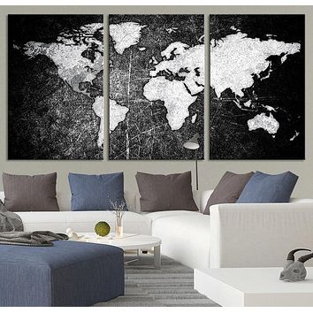 Metalic Black Backgrounded White Modern World Map Canvas Print Contemporary 3 Panel Triptych