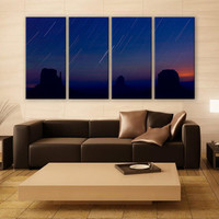 Startrails Monument Valley Night Print 4 Panels Print Wall Decor Fine Art Nature Photography Repro Print for Home and Office Wall Decoration