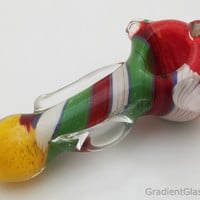 Heavy Spiral Rasta Glass Pipe