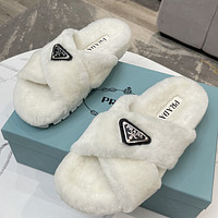 Prada new pure color plush slippers ladies casual sandals shoes white