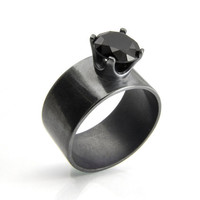 Black Spinel Ring with a Wide Silver Band
