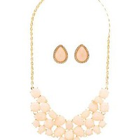 FACETED STONE EARRINGS & NECKLACE SET