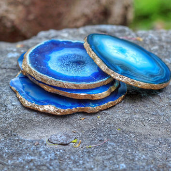 Agate Coasters - Set of 4 - GOLD or SILVER Finish - Coasters - Perfect Housewarming Gift - Wedding Gift - Choose your Colors