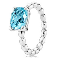 PANDORA COOL BREEZE WITH BLUE TOPAZ STACKABLE RING RETIRED LIMITED QUANTITIES!