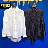 Fendi FF presbyopia pattern shirt for men and women couples fabric silky drape