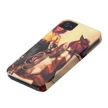 Cowgirl on Her Horse iPhone 4 ID Cases from Zazzle.com