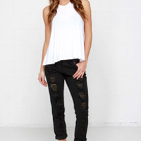 Obey Ex-Boyfriend Distressed Black Boyfriend Jeans