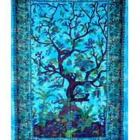 Tree of Life Blue Tapestry, Indian Hippie Wall Hanging , Bohemian Bedspread, Mandala Cotton Dorm Decor Beach blanket