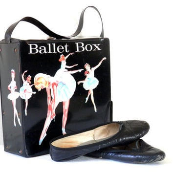Vintage Ballet Shoes and Carrying Box Case by Mattel Black Vinyl No. 5023 1966