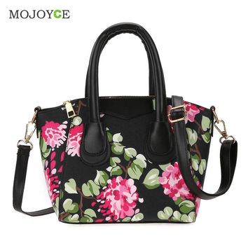 New Fasion Women Leather Hangbags Floral Print PU Handbag Shoulder Tote Crossbody Bags sac a main Bolsa Feminina Clutch SN9