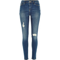 River Island Womens Mid wash distressed Molly jeggings