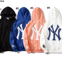 NY hot seller fashion cuffs embroidered back large print with fleece hoodie
