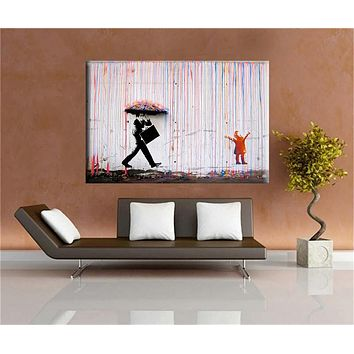 Banksy art Colorful Rain BANKSY canvas painting wall pictures for living room wall art cuadros decorativos poster and print