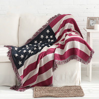 Cotton American flag quality blanket word flow Sumi decorative blanket on bed pad variety function knitting sofa throw home
