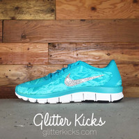 Women's Nike Free 5.0 V4 Print Running Shoes By Glitter Kicks - Customized With Swarovski Crystal Rhinestones - Dusty Cactus/Bleached Turquoise