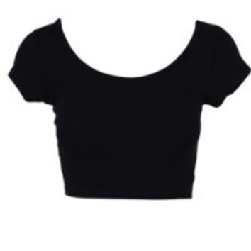 Womens Trendy Solid Color Basic Scooped Neck and Back Crop Top Black Medium