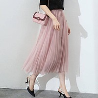 Women Tulle Skirt Elastic High Waist Mesh Fashion Long Skirt A Line Girl Pleated Faldas