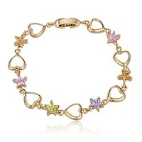Two Year Warranty Gold Overlay Multicolor Star Stones and Gold Heart Charm 7.5 Inches Clasp Bracelet