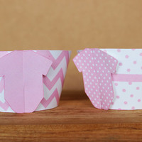 Baby Shower 3D Cupcake Wrappers - DIY printable party supplies – pink baby onesuit wraps for baby showers or birthdays – instant download