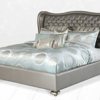 Hollywood Swank King Upholstered Bed - Metallic Graphite by Aico