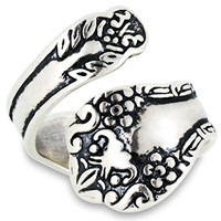 Sterling Silver Adjustable Oxidized Floral Spoon Ring